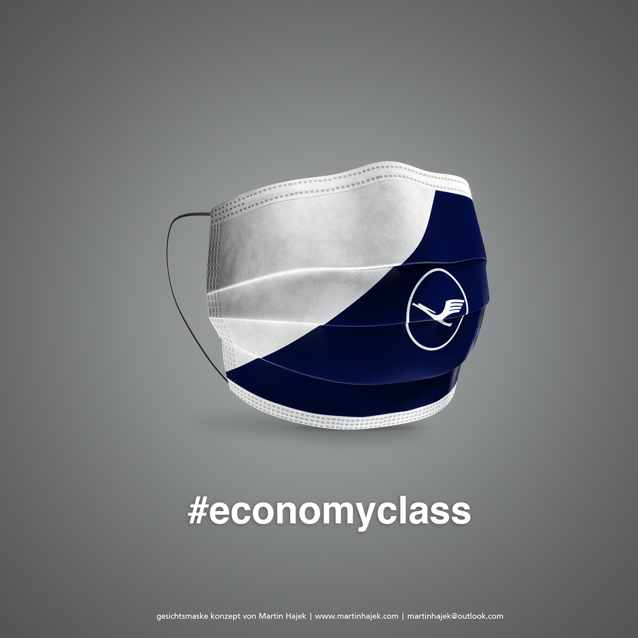 Face masks with airline branding